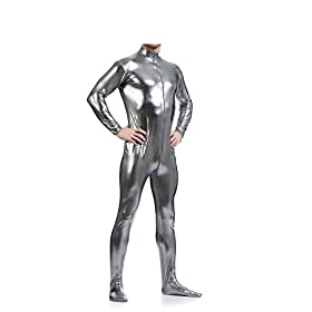 - 41t377PxakL - Mens Front Crotch Zipper Shiny Metallic Spandex Unitard Costumes Gray