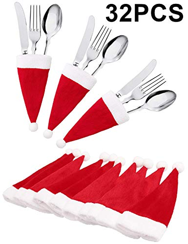 jollylife 32Ct Christmas Santa Hats Silverware Holders - Xmas Party Dinner Table Dinnerware Decorations Supplies (Themed Crackers Christmas)