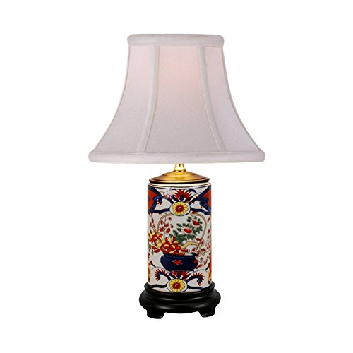 Imari Floral Motif Cylindrical Porcelain Vase Table Lamp 15