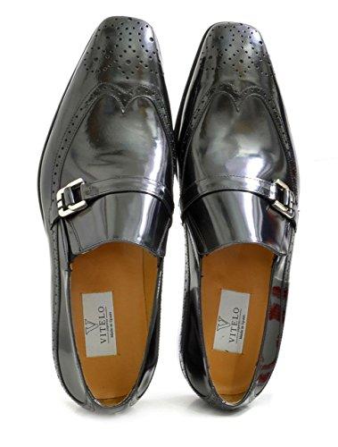 Men's VITELO Semi-Brogue Polished Leather Slip-On Shoes 144-45 Black 9JHL8