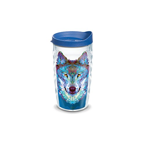 (Tervis 1221941 Wolf Trend Tumbler with Wrap and Blue Lid 10oz Wavy, Clear)