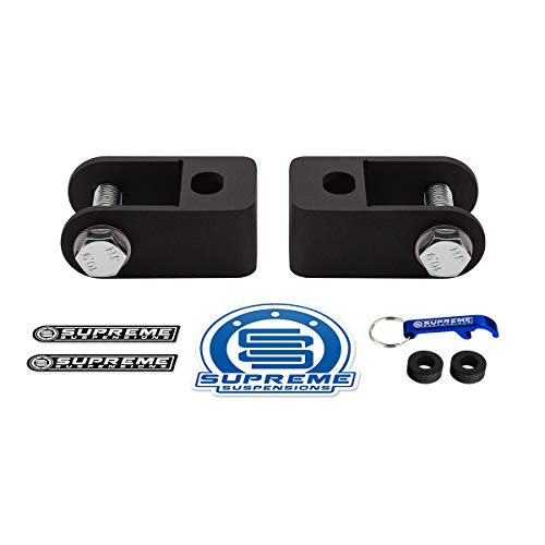 Supreme Suspensions - Rear Shock Extenders for 2007 New - 2019 Chevrolet Silverado 1500 [6-Lug] High-Strength Steel Stock Shocks Extension Brackets 2WD ()