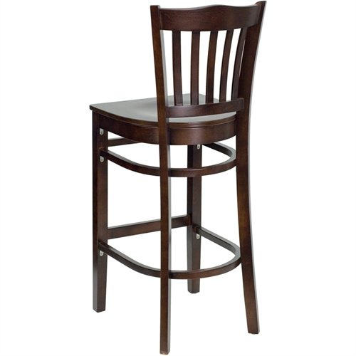 Flash Furniture HERCULES Series Vertical Slat Back Walnut Wood Restaurant Barstool