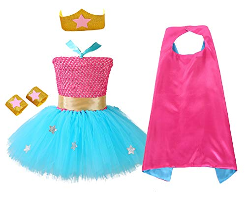 AQTOPS Little Girls Superhero Costume Halloween Role Play Hero Tutu Dress Plus -