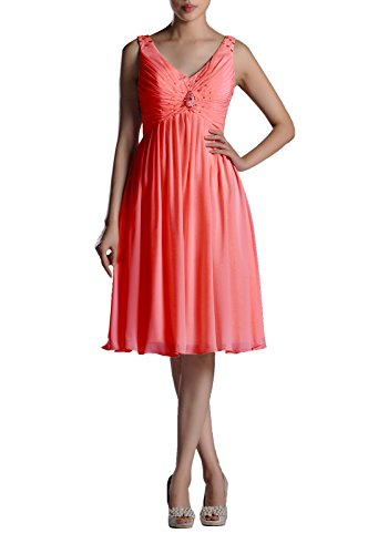 Pleated Chiffon Prom Beaded Straps V neck Sleeveless A line Short Bridesmaid Dress , Color Watermelon ,16