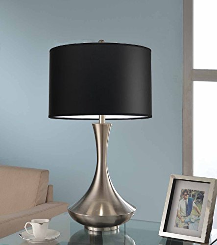 Artiva USA Aladdin, Contemporary Design, 30-Inch Brushed Steel Energy Saving Compact Fluorescent Table Lamp with Black Linen Shade