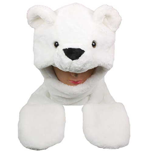 Polar Bear Mask (Choose From Over 25 Animals! - Plush Faux Fur Animal Critter Hat Cap - Soft Warm Winter Headwear - Short with Ear Poms and Flaps & Long with Scarf and)