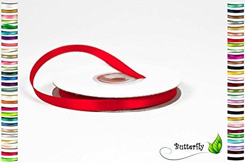 6 mm Satinband 25m Rolle ( rot 250 ) // einseitiges Schleifenband Deko Band Dekoband Geschenkband Dekoration für Hochzeit Taufe