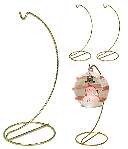 Gold Metal Ornament Hanger (Gold Christmas Ornament Stands - Set of 4 - Twisted Brass Finish - 9