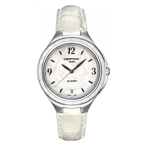 certina Women's 36mm White Calfskin Band Steel Case Anti Reflective Sapphire Quartz Watch C0182101601700