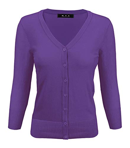 YEMAK Women's 3/4 Sleeve V-Neck Button Down Knit Cardigan Sweater CO078-Violet-S ()