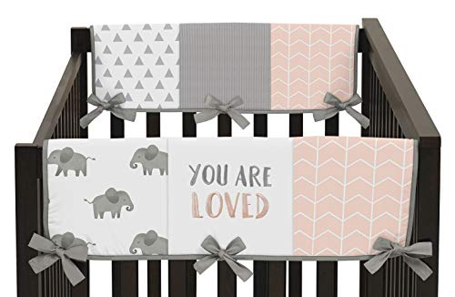(Sweet Jojo Designs Blush Pink, Grey and White Side Crib Rail Guards Baby Teething Cover Protector Wrap for Watercolor Elephant Safari Collection - Set of 2)
