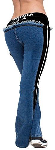 Fitness Jeans Pantalones de jogging con un moderno–Impresión–Virginia–Pantalón–Pantalón de entrenamiento–Negro con rayas blancas