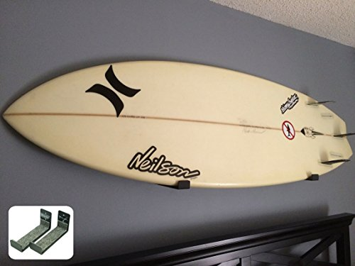 StoreYourBoard Naked Surf, The Original Minimalist Surfboard Wall Rack, Display Rack, Black