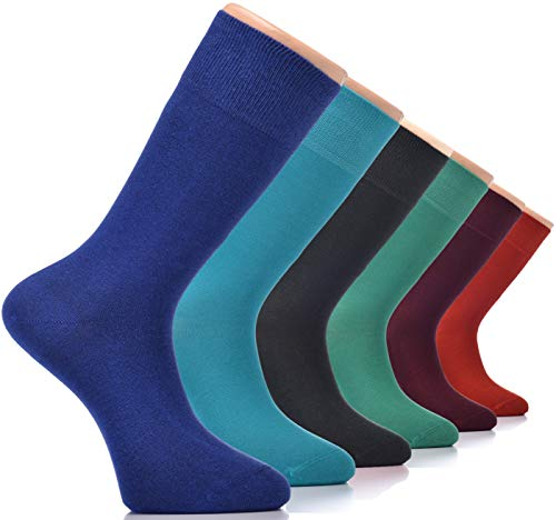 cks (6-pack) |Luxury Casual, Business, Funny Colorful Patterned, Cool Dress Socks Footwear Size 7-12 (Solid) ()