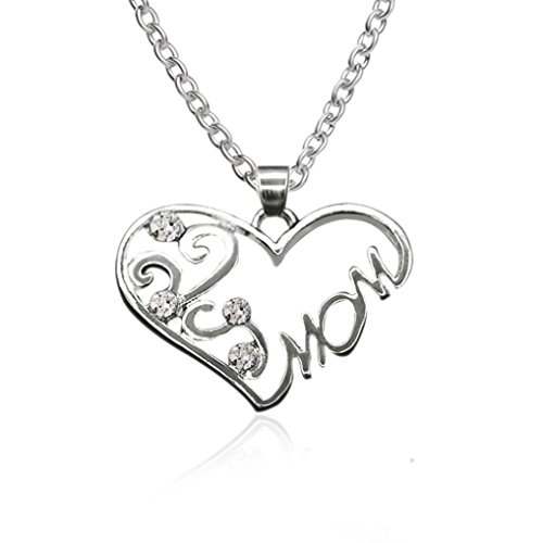 - Sacow Pendant Necklace, Women Popular Diamond Encrusted Heart Shaped Mom Necklace Decoration Chain Choker