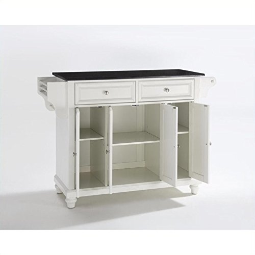 Crosley Furniture Cambridge Kitchen Island with Solid Black Granite Top – White For Sale