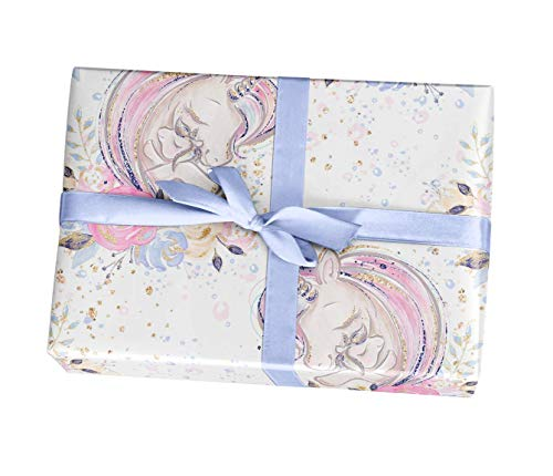 Unicorn baby shower wrapping paper gift sheets - 15 FT]()