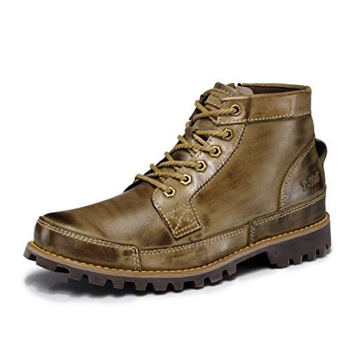 Botas Hy Casual Cuero Primavera Tamaño color Formales De Martins Marron Herramientas 41 Caqui otoño Hombre Zapatos Cordones Cordones Combate Amarillo Calzado Con rwr58q4I