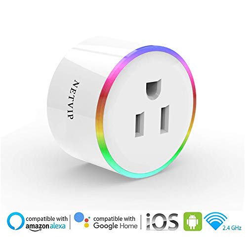 WiFi Smart Plug Socket Compatible with Amazon Alexa Google Assistant IFTTT, Mini Wireless Outlet with Remote Control and Timer Function, No Hub Required, ETL and FCC Certified