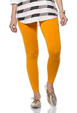 eb917ca1c72f4 De Moza Ladies Ankle Length Leggings Solid Viscose Lycra Dark Yellow XS