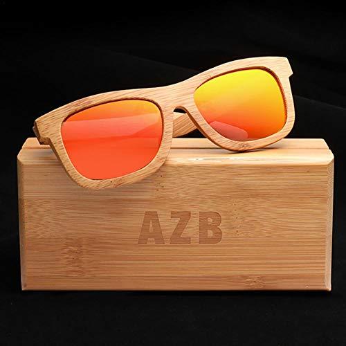 Vendimia Madera AZB de la Caja Gafas Hombre de Bambú la de Sol Flotante Caminante para de Mujer de Bambú con de Naranja Polarizadas Sol y Gafas rT6qr