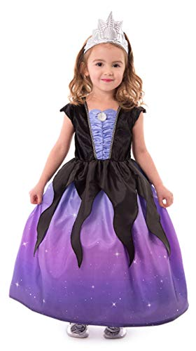Little Adventures Sea Witch with Soft Crown Dress Up Costume (X-Large Age 7-9) Purple -