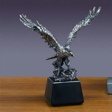 Standing on Rock Eagle Antique Silver Statue, 13.5 inches H (L)