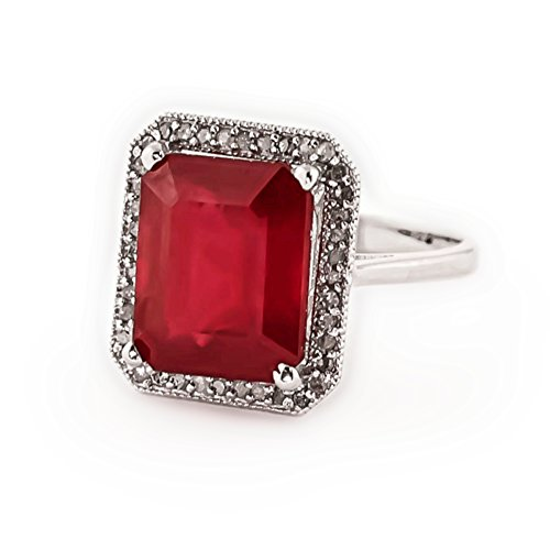 7.45 Carat 14K Solid White Rose Yellow Gold Emerald Cut Ruby Halo Design with Natural Diamond Ring 4894 (White-Gold, 6.5)