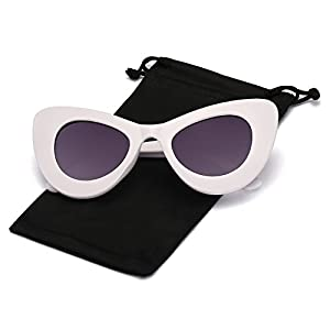 Q Eye Cateye Sunglasses Oversized Thick Frame for Women and Men Retro Classic Bold Mod Gothic Colored Sunglasses, White Frame and Grey Lens