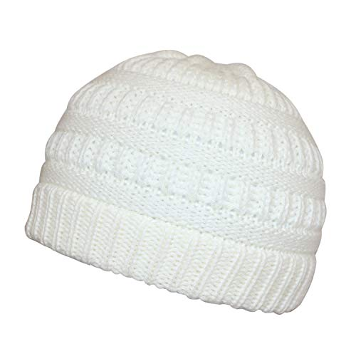 Bestjybt Knitted Baby Hats Winter Warm Infant Toddler Beanies Hats Caps (1 Pack White)