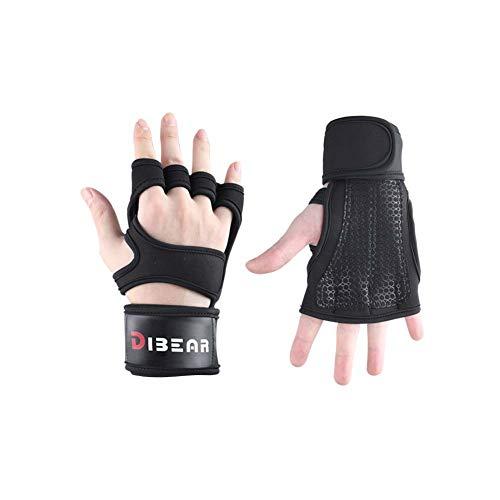 DIBEAR Gym Weightlifting Exercise Dumbbell Gloves Strengthen Bracers (Black, S)