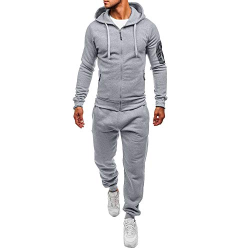 Clearance!Men's Fashion Sport Zip Patchwork Sweatshirt Top Pants Sets Sports Suit Tracksuit