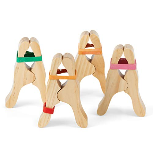 CASSARO Waldorf Wooden Play Clips, 4 Pack