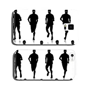 Set of silhouettes. Runners on sprint, men. vector illustration. cell phone cover case Samsung S6
