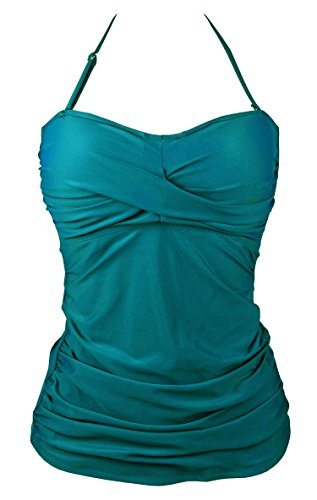 Cocoship Solids Shirred Bandeau Tankinis