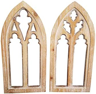 HDW Set of 2 16 inch Rustic Cathedral Arch Window Frame Wall Sculpture Decor