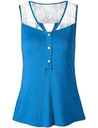 Woman Women Casual Summer Lace Patchwork Shirt Sleeveless Vest Tank Tops Blouse