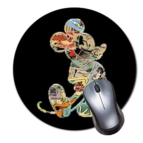 Round Gaming Mouse Pad Creative Custom Non Slip Rubber Mousepad Mat-Classic Mickey Comic Silhouette Ceramic (Mickey Pad Classic Mouse)