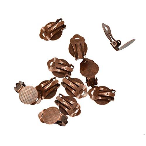 Baosity 12Pcs Clip On Earring Wire Hook Blank Bezel for 12mm Cabochon Setting DIY Crafts - Copper Bezel Brown Earrings