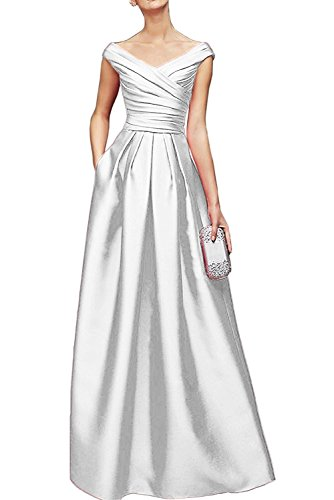 Bodenlang Weiß Abendkleider Damen Braut La Promkleider Brautmutterkleider Satin V Blau Ausschnitt Marie Royal gPFqPU
