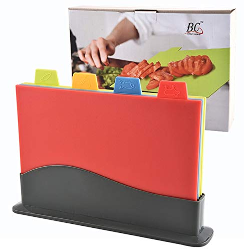 Cutting Board Set, Non-Slip Chopping BPA-Free Boards with Cutting Board Holder and Draining Stand for Kitchen, (4 pcs.) Color-Coded Cutting Boards. 11.8 x 8.6 in.