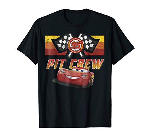 Disney Pixar Cars McQueen Pit Crew Red Distressed T-Shirt
