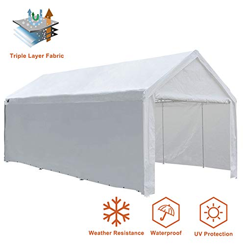 Eurmax Outdoor Patio 10 x 20 Ft Heavy Duty Carport, Car Canopy Shelter with Removable Side Panels,White