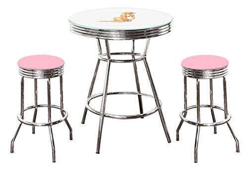 The Furniture Cove Marilyn Monroe Themed Bar Table Set - White Bar Table with Glass Table Top Surface and 2 Chrome 29