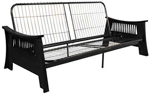 Epic Furnishings Tokyo Futon Sofa Sleeper Bed Frame, Queen-size, Black Arm Finish