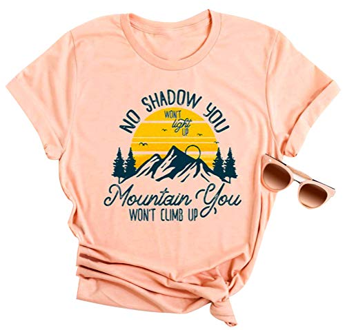 EGELEXY Women's Mountain Letter Printed Short Sleeve Tops Tee Funny Graphic Casual T-Shirt Blouse Size XL (Pink)]()