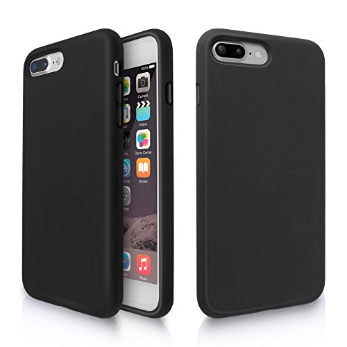 iPhone 8 Plus Case, iPhone 7 Plus Case, Fuleadture Liquid Silicone Gel Rubber Shockproof Soft Full Protective Cover with Microfiber Cloth Lining Cushion for iPhone 7 Plus/8 Plus - Black
