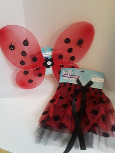HALLOWEEN COSTUME JUST PRETEND BUTTERFLY WINGS WITH MATCHING SKIRT 2 PIECE SET BEAUTIFUL RED WITH BLACK POLKA DOTS