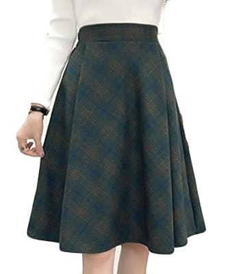 Papijam Womens High Waist Retro Plaid Swing Wool Flare Midi Skirt